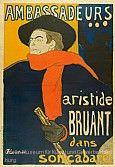 Henri de Toulouse-Lautrec (1864–1901), Ambassadeurs – Aristide Bruant dans son cabaret, 1892, Farblithografie, 138 x 96,5 cm, Museum für Kunst und Gew