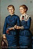 Hans Thoma (1839-1924). Milly und Else Haag 1883, Öl auf Papier auf Leinwand 124x85 cm, Museum Wiesbaden, erworben 2020
